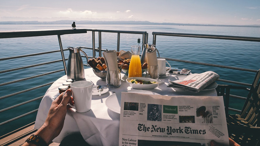 Breakfast on a luxury boat