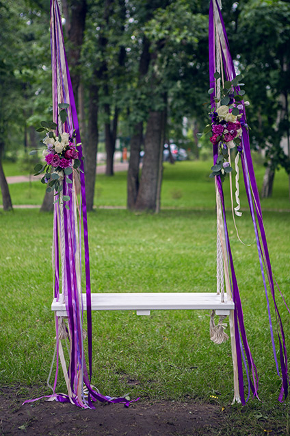 Purple ribbons and swing