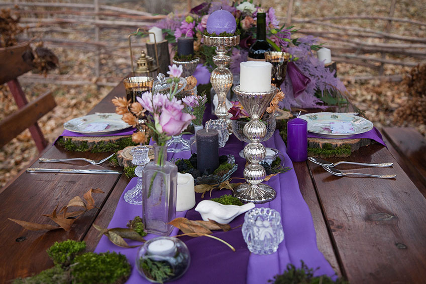 country-chic purple table setting