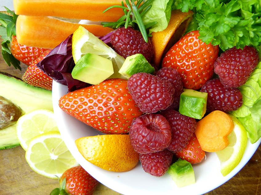 Colorful raw food fruits and vegetables