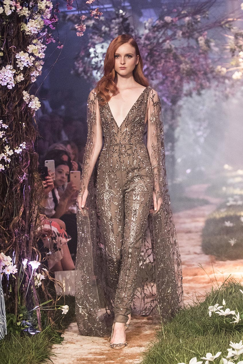 Paolo Sebastian Beaded Caped Jumpsuit