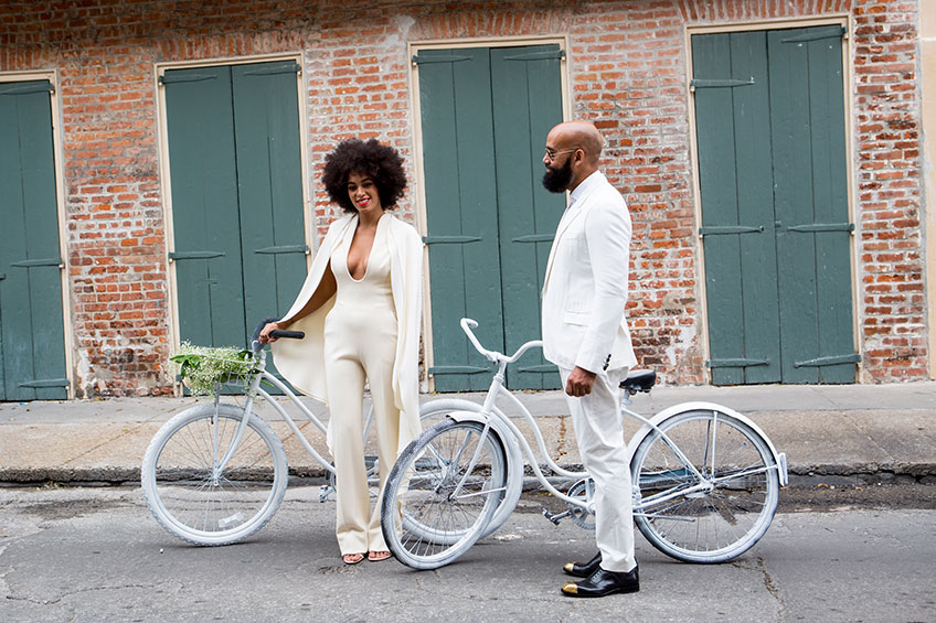 Solange Knowles wearing a jumpsuit on her wedding day