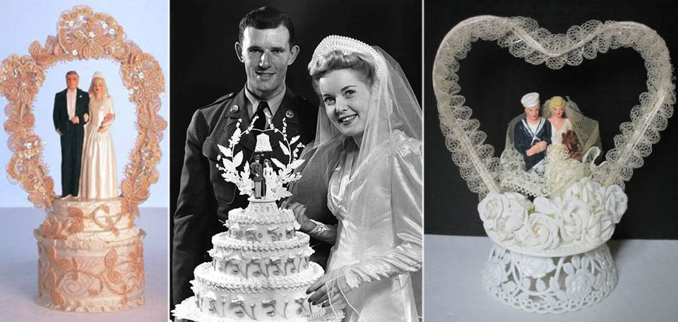 1940s wedding the unmissable masterpiece was the cake topper