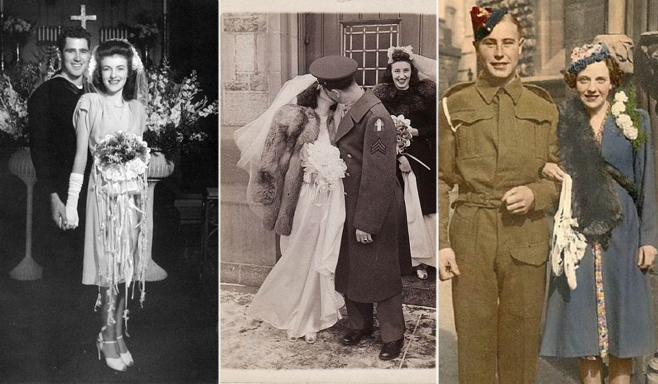 WWII wedding couples portraits. Groom in uniforms
