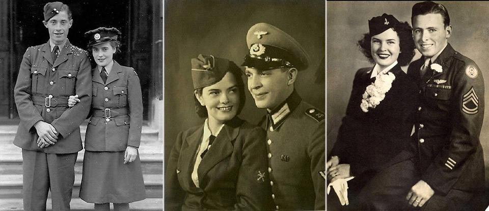 1940s newlyweds both brides and grooms wore their uniforms