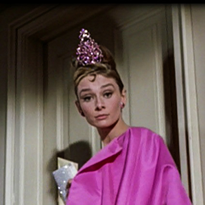 Later on in the movie Audrey Hepburn wears a rhinestone pink tiara with natural elegance.