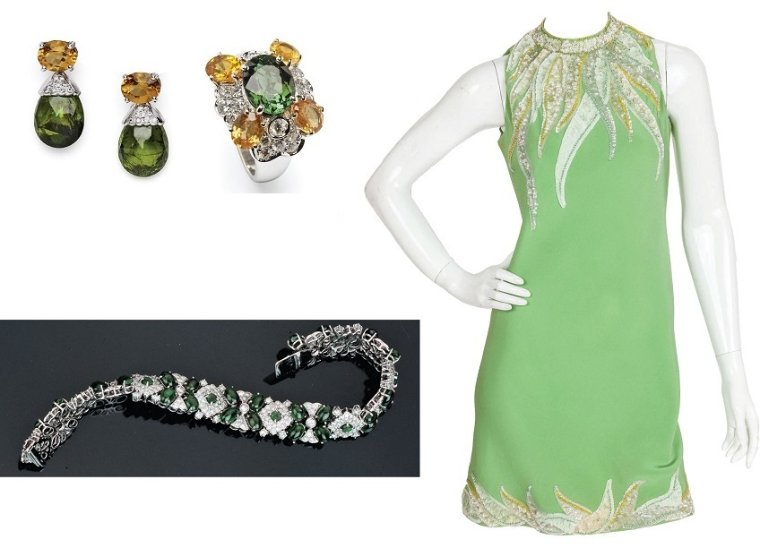 The High-jewelry matching to the Pierre Cardin green mini dress