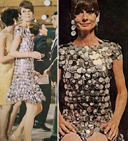 Paco Rabanne, a mini evening dress with metal disks