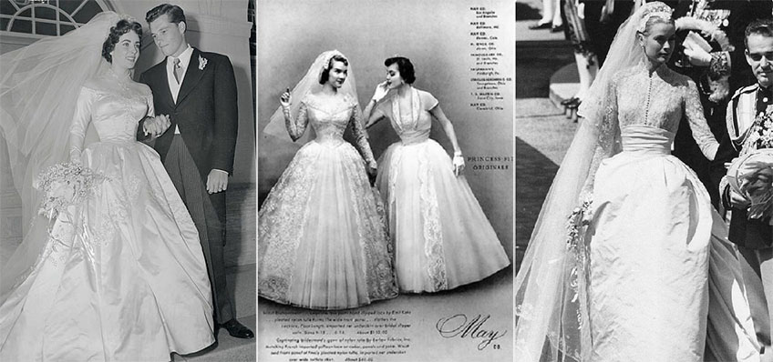 Elizabeth Taylor and Grace Kelly bridal style