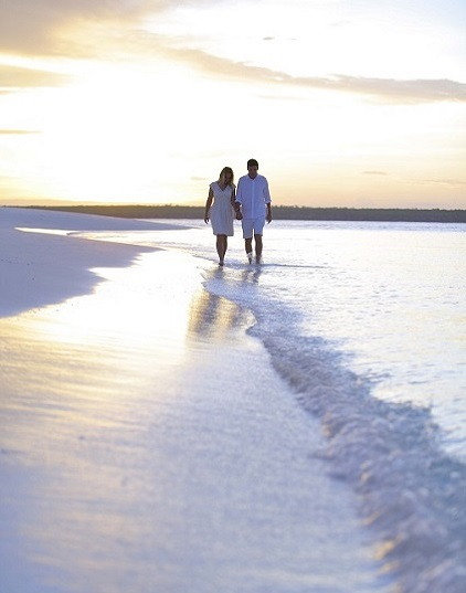 Romantic walk in paradise