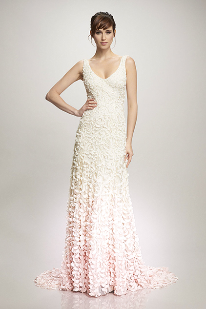 wedding dress 3D ombre floral petals