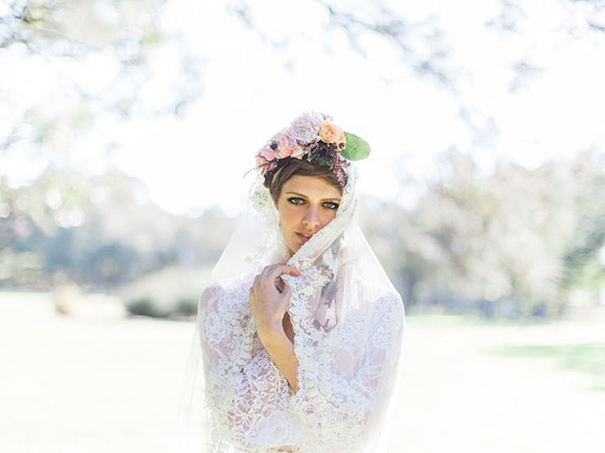 Boho wedding dress style the veil and flower crown