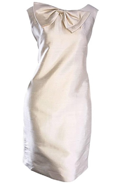 1960s Ivory Off White Raw Silk Shift Dress