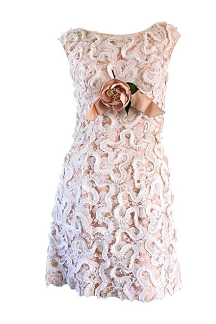 1960s Pink and Ivory little Lace wedding dress