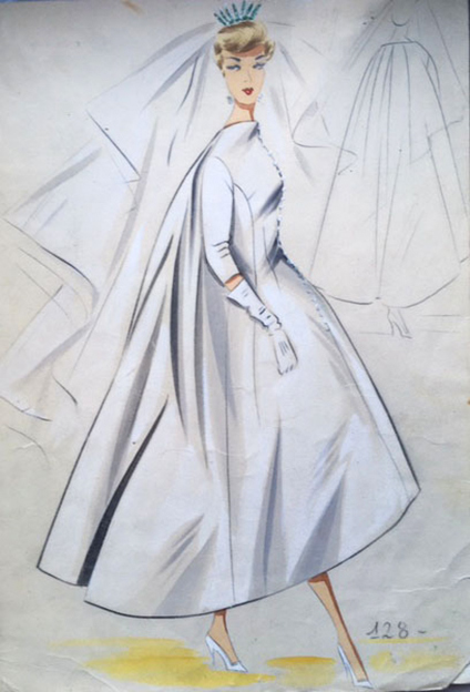 An original bridal sewing pattern of the sixty