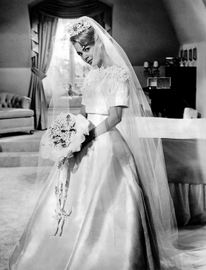 Sandra Dee on her wedding day to Bobby Darin