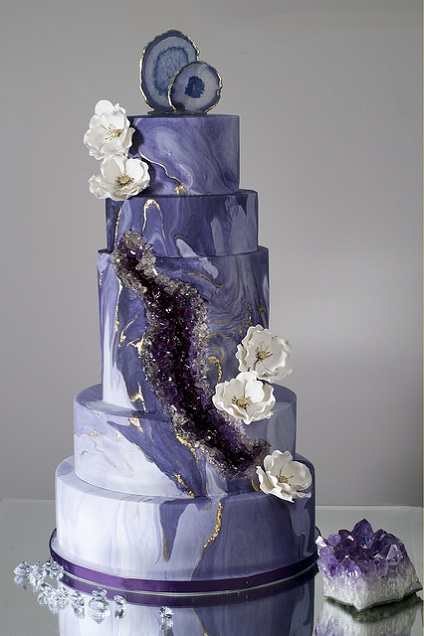 Ultra Violet geode wedding cake