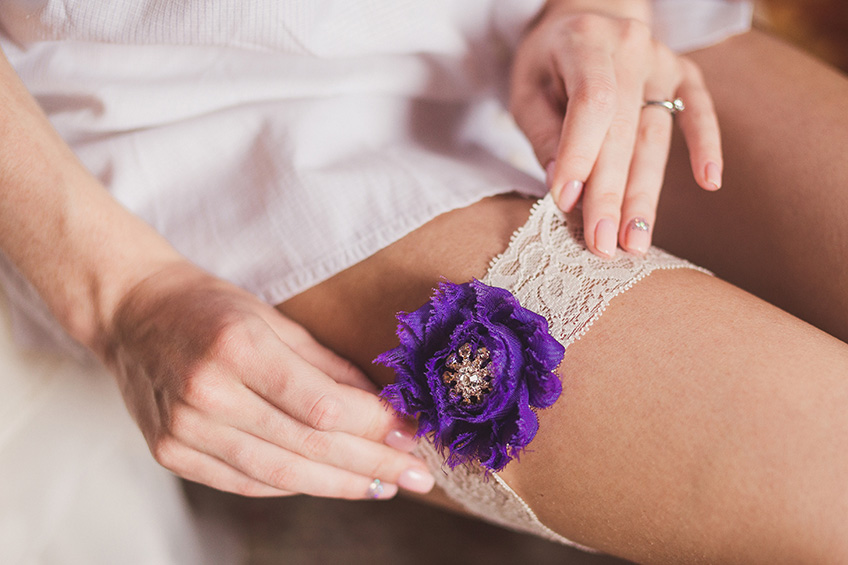 Purple lace garter